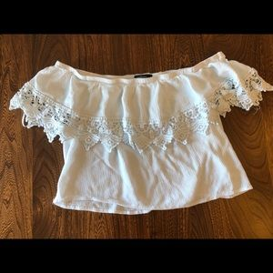 White off the shoulder crop top brand Ambiance